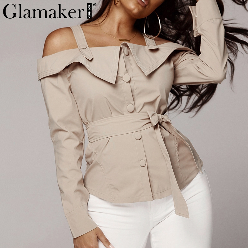 Glamaker Sexy off shoulder   blouse     shirt   Women long sleeve bow tie up belt   blouse   Spring femme elegant streetwear slim blusas top