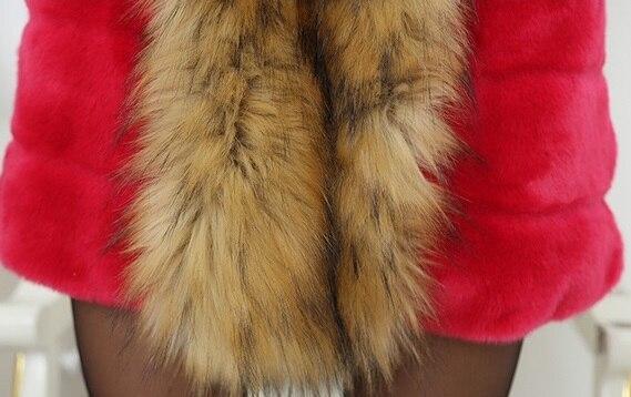 long 2017 Faux Manteau Clothing La rose Rex kaki Mince Rouge Taille Femmes Raton Moyen noir Cheveux Laveur Fourrure Lapin De Plus 4awwB5qA