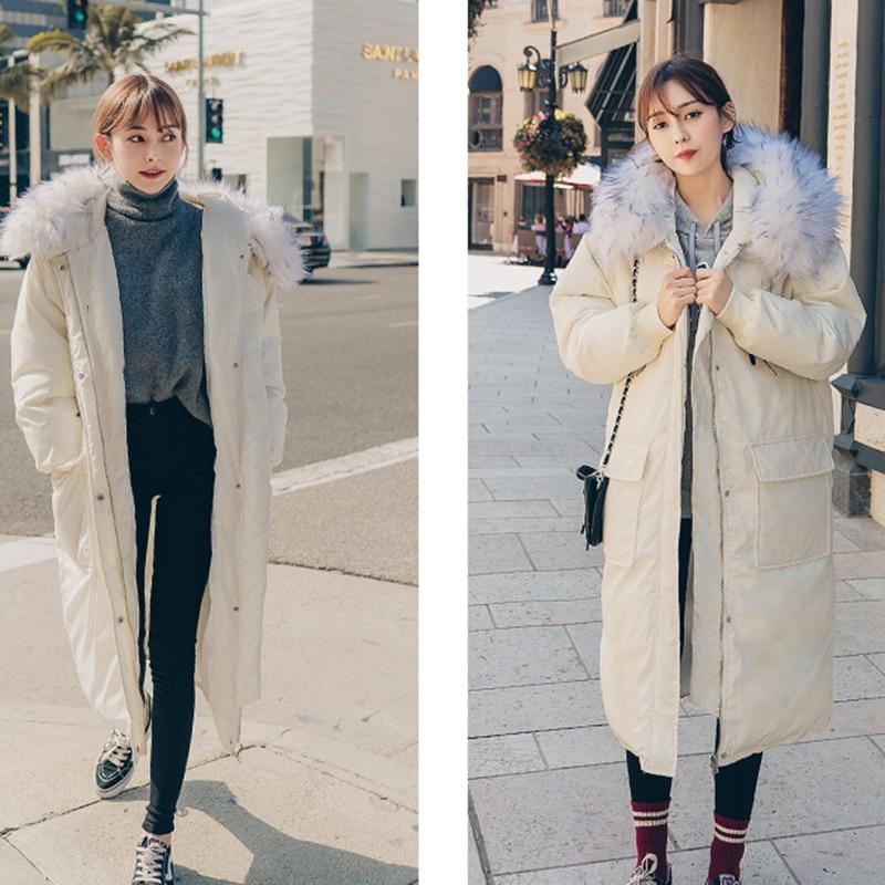 À Moyen Femmes Couleur Coton Capuchon Grande Col De Solide 2018 Lâche Creamywhite Longueur D'hiver Taille Chaud Manteau Mode Blue grey Nuw63 Fourrure rf7x0rqw