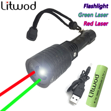 Buy Litwod Z3008-3 New flashlight red Green Laser Flashlight Pointer light Tactical Hunting Adjustable flash light multifunction