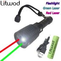 Litwod Z3008-3 Nuevo rojo linterna Láser Verde Puntero Linterna Caza Táctico Ajustable de luz de flash de luz de múltiples funciones