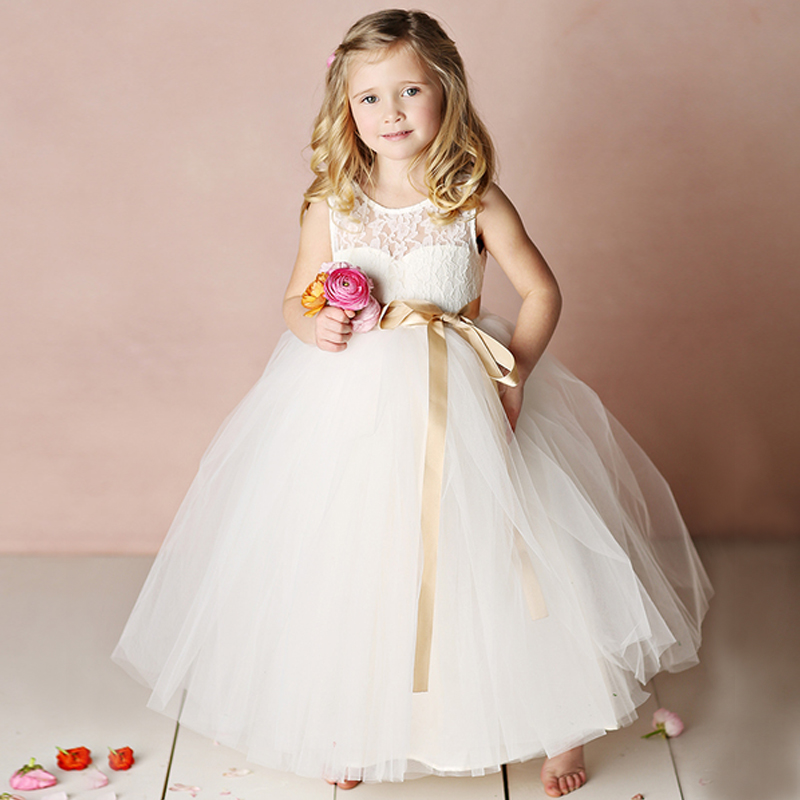 ФОТО Customize a variety of color flower girl dresses and ankle-length a-line sleeveless Sashes new first communion dresses for girls