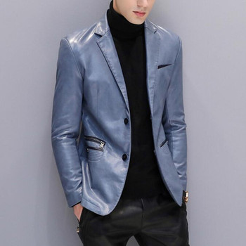 Men Leather Jacket Blue Black Suit Jacket Blazer Mens Jackets And Coats Winter Casual Formal Spring Autumn Male Brand Clothing