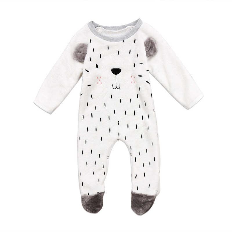 cc5eead2f Unisex Baby Rompers Cartoon Animal Clothing Set Winter Girls Warm Fleece  Clothes Boys Foot Overalls Newborn