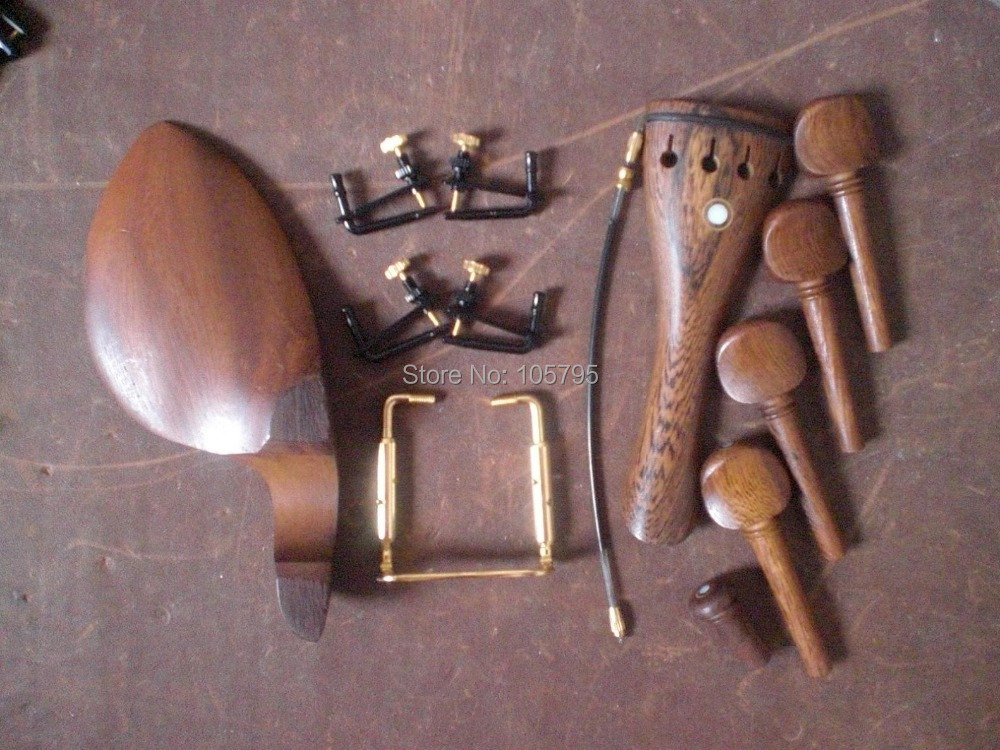 ФОТО 4 Sets Wenge wood Violin parts including String adjuster and tail gut and chin rest clamp 4/4