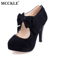 Mcckle/женские модные на высоком каблуке Туфли с бантиками из флока на молнии на платформе для вечера и на каждый день пикантные черные сапоги Женская Удобная женская обувь