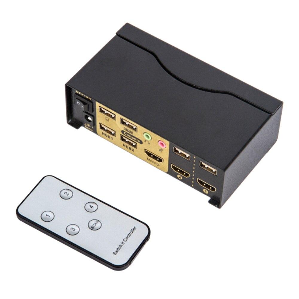 Kvm-switch Automatisch 2 Eingang Und 1 Ausgang 2 Ports Hdmi Computer Display Tastatur Und Maus Genießen Remote 1080 P Up-To-Date-Styling Computer-peripheriegeräte Hdmi Kvm-switches