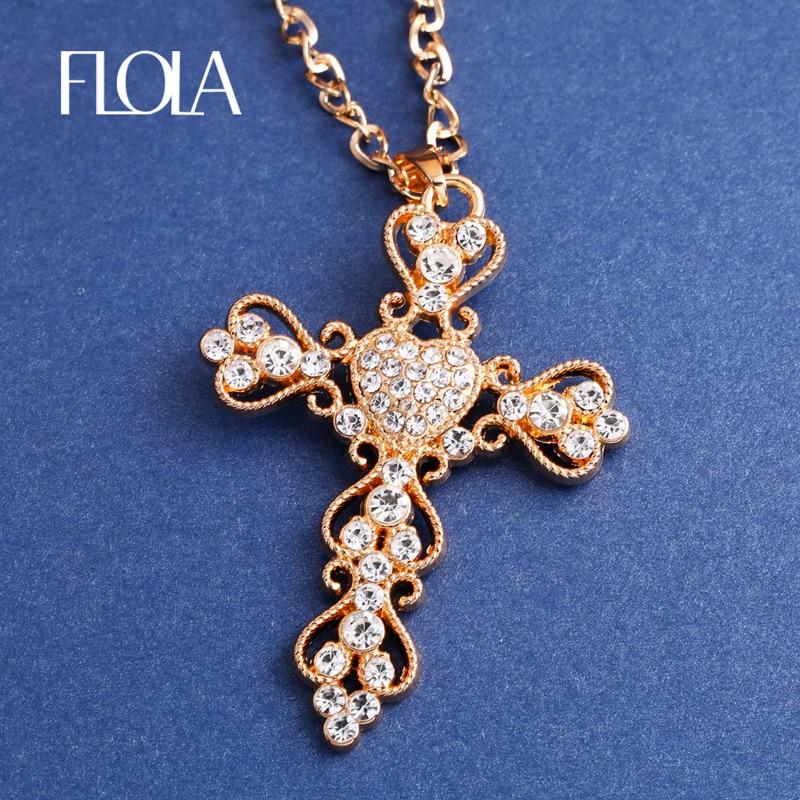 Fashion Jewelry Gold Cross Necklace Pendant Big Rhinestone