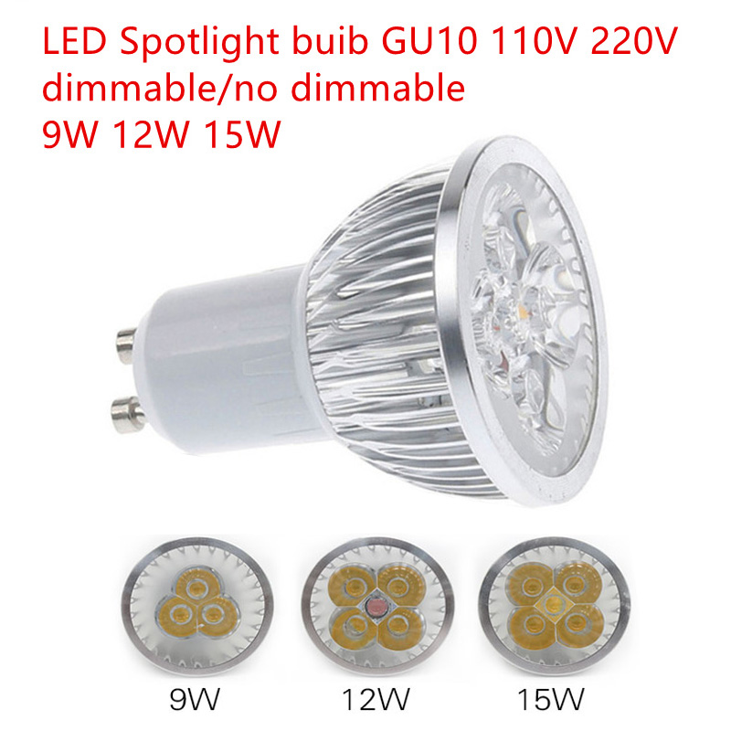 1 stks Super Heldere 9 W 12 W 15 W GU10 lampe à LED 110 V 220 V Dimbare LED Taches Chaud/Naturel/Cool Wit GU 10 lampe à LED