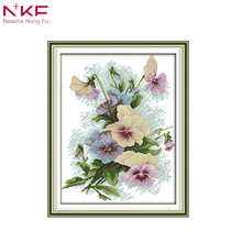 NKF Pansy flowers home decor painting counted print on canvas DMC 11 14CT chinese Cross