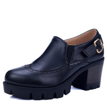 Black brown PU soft leather New Women's High Heels Women Pumps Sexy Bride Party chunky high Heel round toe Shoes Plus Size 34-43