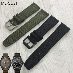 MERJUST 20mm 21mm 22mm Nylon + Genuine Leather men Watchbands Black Green Band Strap With Steel Buckle For Iw379901