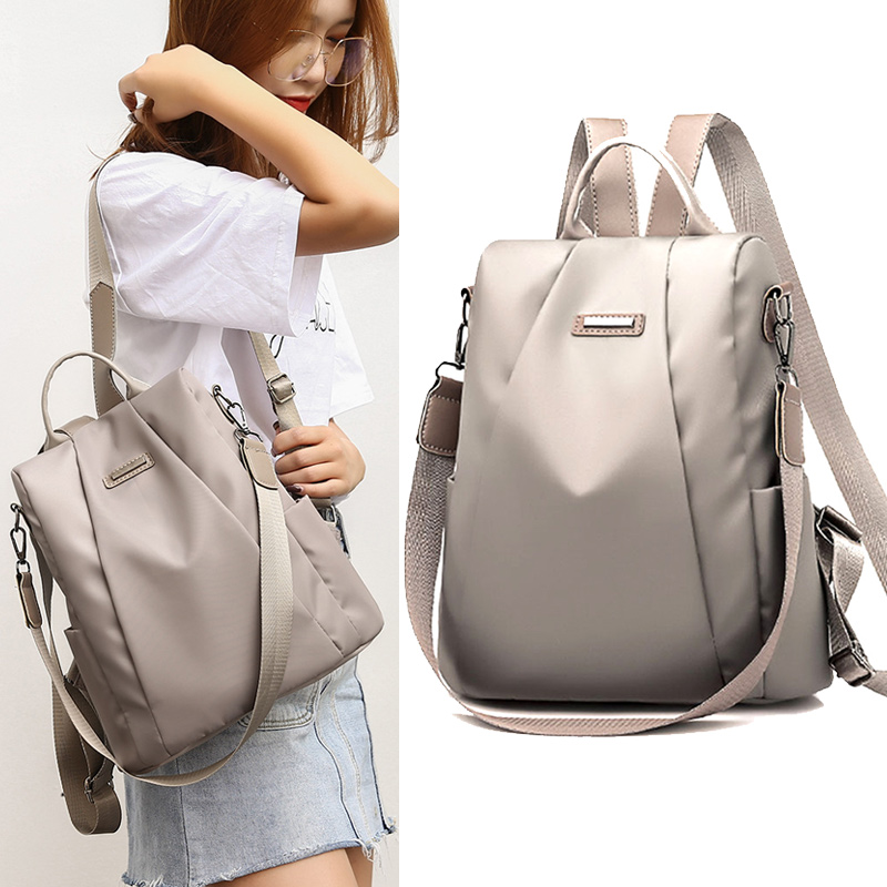Women Waterproof Oxford Cloth Travel Backpack Nylon Anti-theft Double Casual Shoulder Bag 34cm X 28cm X 14cm