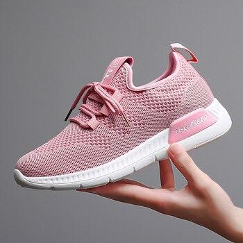 Women Shoes 2019 Flyknit Sneakers Women Super Light Vulcanized Shoes For Basket Femme White Sneakers Fashion Women Casual Shoes