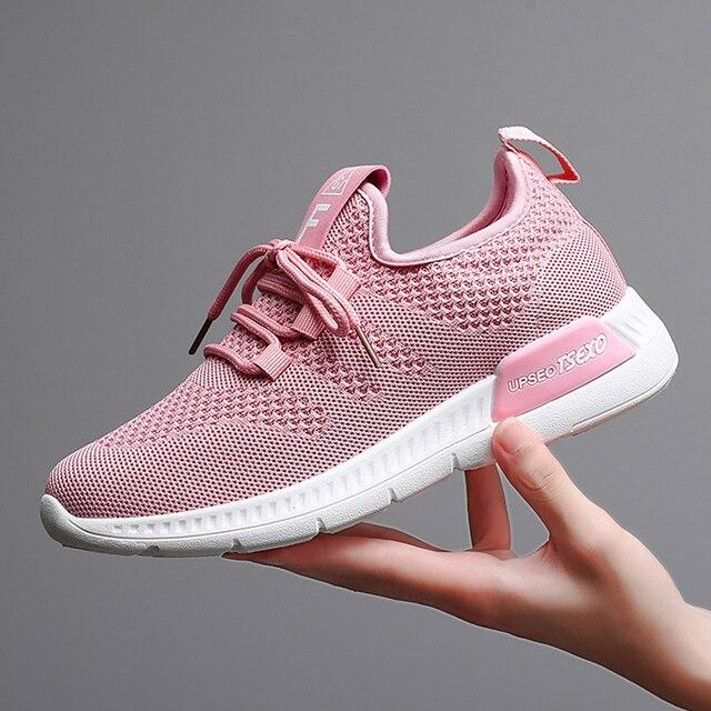 Mulheres Sapatos 2019 Sneakers Flyknit Mulheres Super Leve Calçados vulcanizados Para Cesta Femme Tênis Branco Mulheres Da Moda Sapatos Casuais