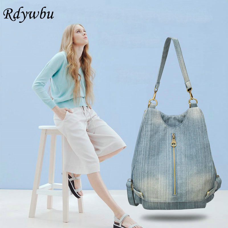 Rdywbu Women Vintage Washed Denim Jean Backpack Girl Fashion Multifunctional Travel Shoulder Bag Big Campus Mochila Bolsa B187