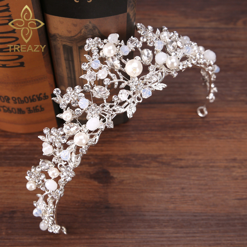TREAZY Bridal Bridesmaid Wedding Tiara Headdress Handmade Crystal Pearl Floral Crowns Tiaras Princess Wedding Hair Accessories fashion bridal veils party wedding hair accessories flower girls bridesmaid hair band floral lace veil headdress free shipping