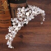 TREAZY Bridal Bridesmaid Wedding Tiara Headdress Handmade Crystal Pearl Floral Crowns Tiaras Princess Wedding Hair Accessories