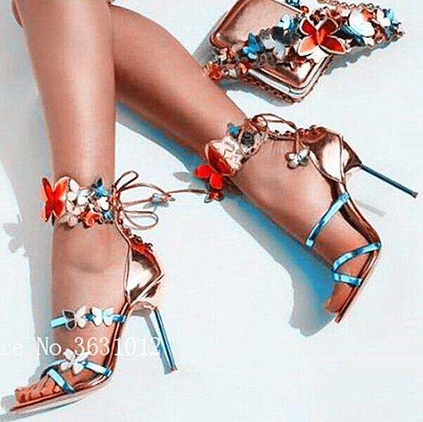 De Encaje Mujer Pic Tacón Mariposa Pic Metálico Zapatos Apliques Bomba As Chic Turquesa Tiras Sandalias Cuero Trasero Coloridos Nuevos as Alto f7q54UwaU