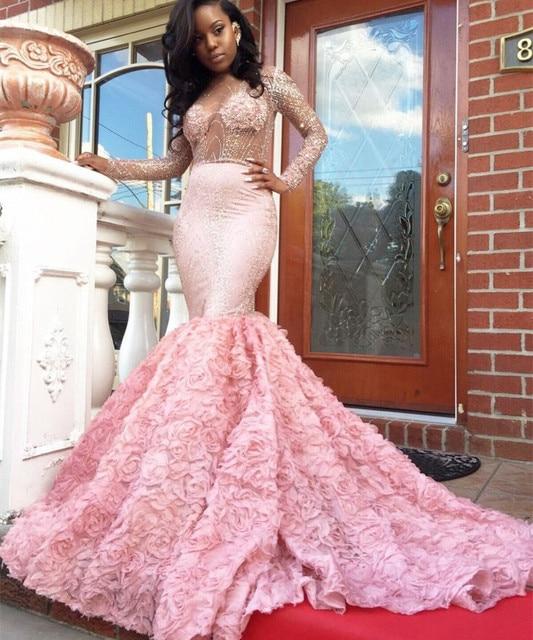 Beautiful Pink Prom Dress 2017 Mermaid Long Sleeve See Through ...