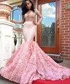 Linda rosa prom dress 2017 mermaid manga comprida ver através decote flor cristal negro africano meninas modelos vestido de noite