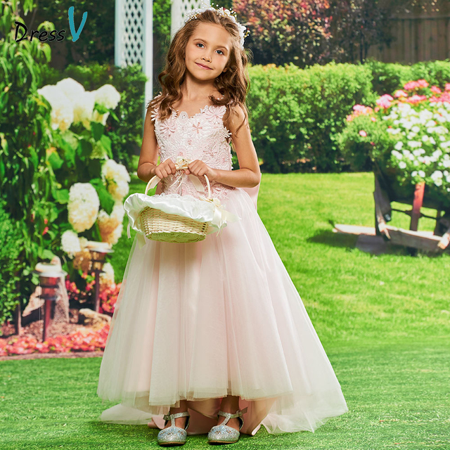 cf2628583b74 Dressv scoop neck flower girl dress birthday party prom ball kid gowns with  appliques bowknot ankle length flower girl dress