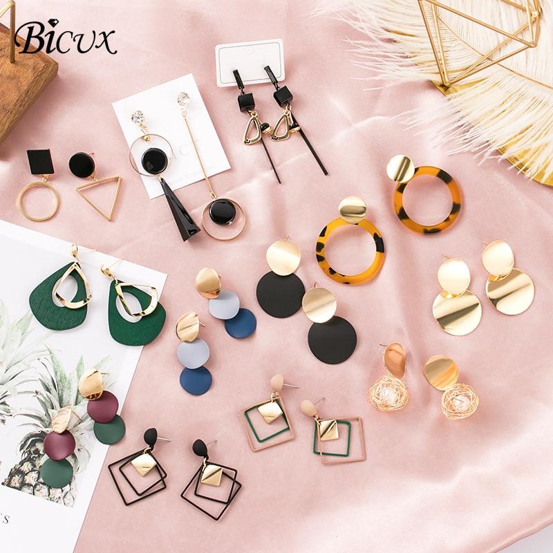 BICUX Vintage Acrylic Statement Drop Earrings for Women 2019 Fashion Jewelry Korean Metal Geometric Gold Hanging