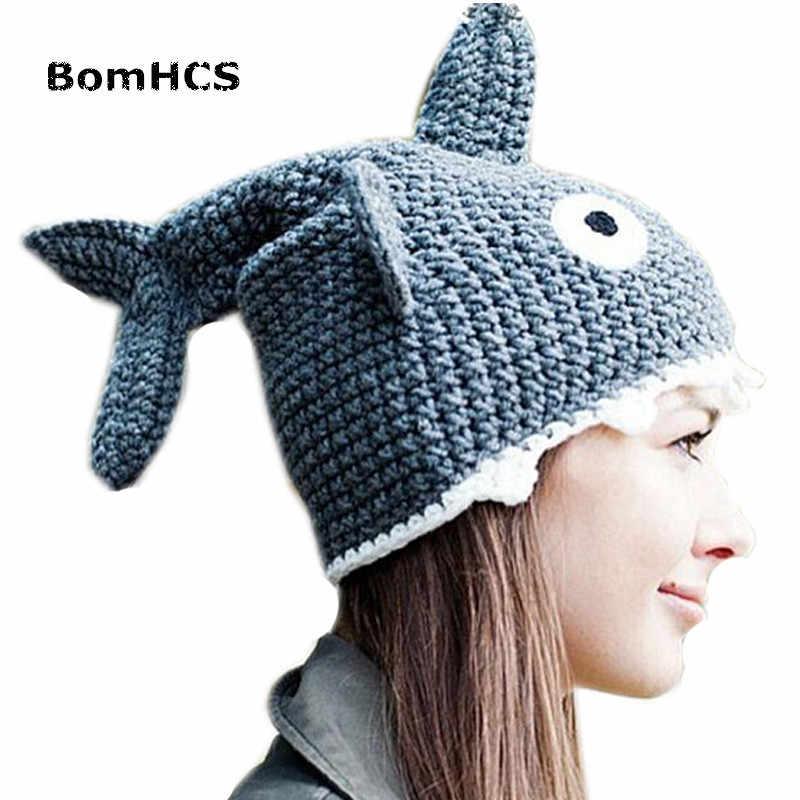 09075b7c4 BomHCS Novetly Shark Hat 100% Handmade Knit Animal Beanie for March ...