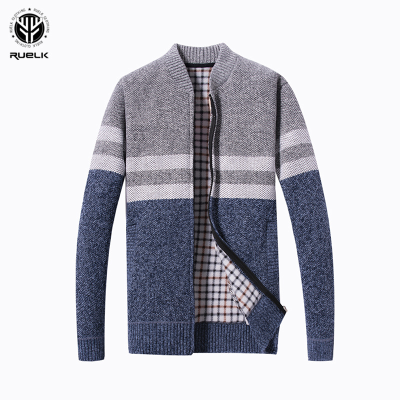 RUELK 2019 Fashion Mens Wool Cardigan Sweaters Men'S Thick Stand Collar Pullover Korean Full Sleeves Slim Solid Mens Sweaters
