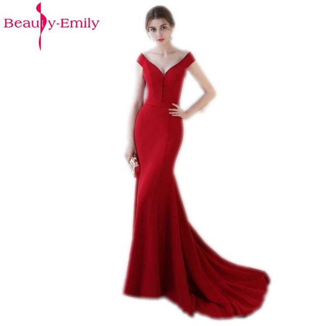 377c5c77a003 Bellezza-Emily lità Elastico Raso Lungo Della Sirena del Vestito Da Sera  2019 Sexy Borgogna