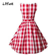Women Summer Dresses 2016 Vestidos Tartan Plaid Casual Dress Vintage Rockabilly Retro 1950s Strapless Gown Skater Pleated Dress