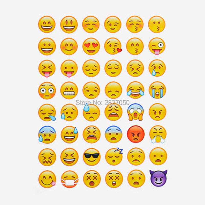 10 Sheets 48 Classic Emoji Smile Face stickers toy kawaii Funny stick Decoration toys for Notebook Albums Phone Computer