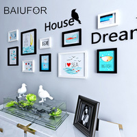 BAIUFOR Europe Style 10pcs Set Black White Vintage Photo Frame Wall Family Wooden Picture Frame Sets
