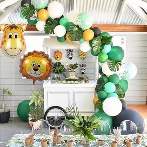 Safari artigos para festas animais balões arco selva zoo decorações de festa adulto 1st aniversário feliz banner chá de fraldas