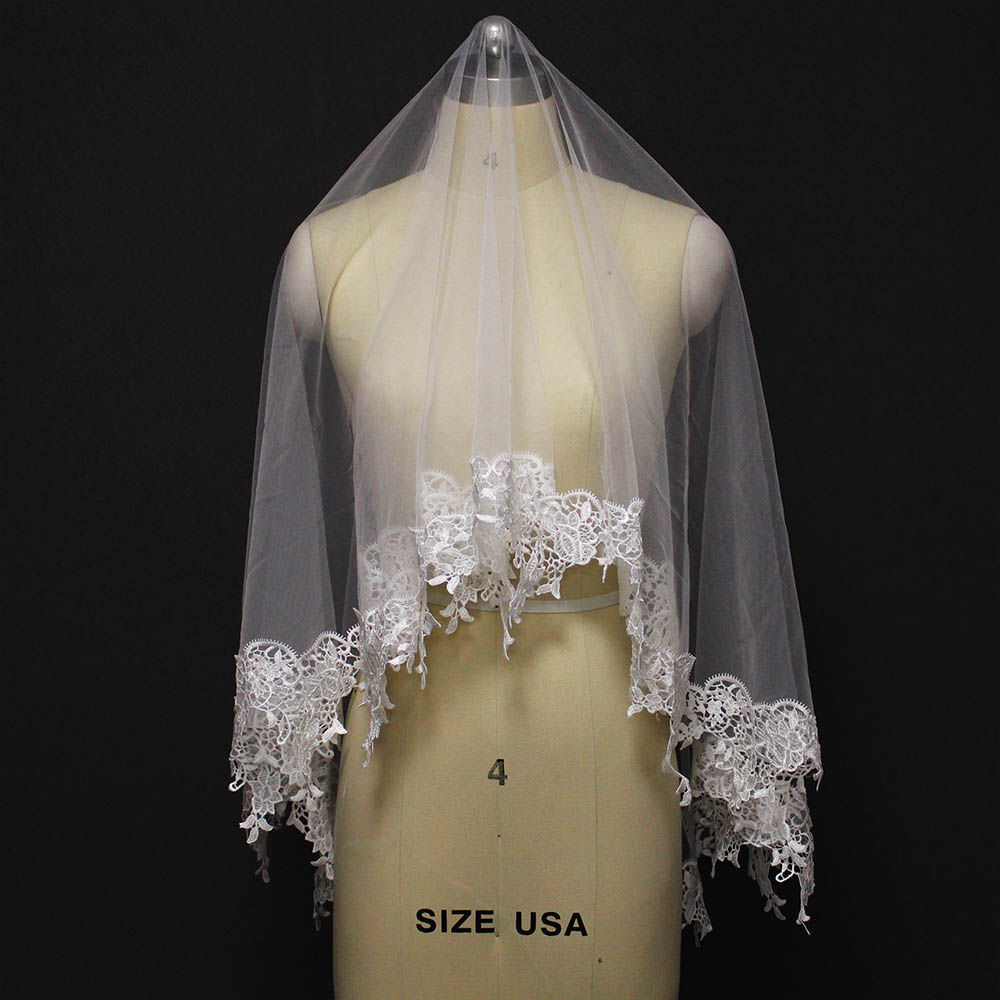High Quality Short Wedding Veil Lace Edge One Layer Bridal Veil WITHOUT Comb Ivory Veil For Bride Veu De Noiva