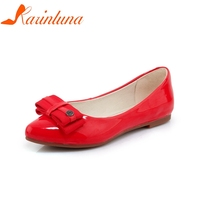 KARINLUNA New Women S Patent Leather Flat Solid Shallow Bowtie Shoes Woman Casual Comfortable Sweet Flats
