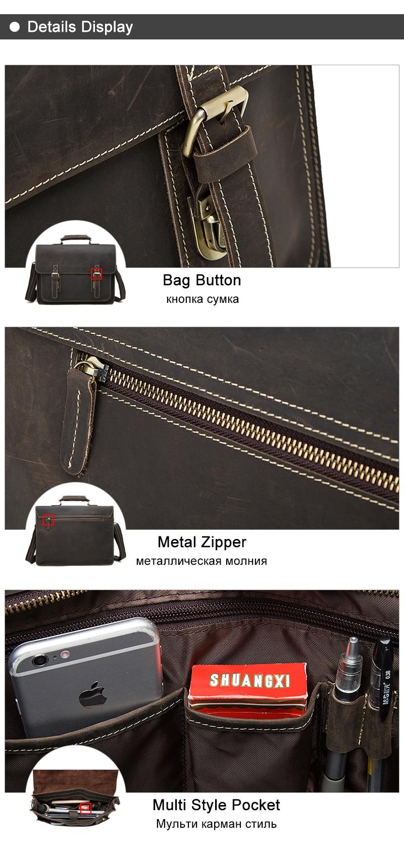 Business Men Briefcase Crazy Horse Genuine Leather Men Bag Handbags Totes Vintage laptop bag Male Shoulder bags 01 (5)