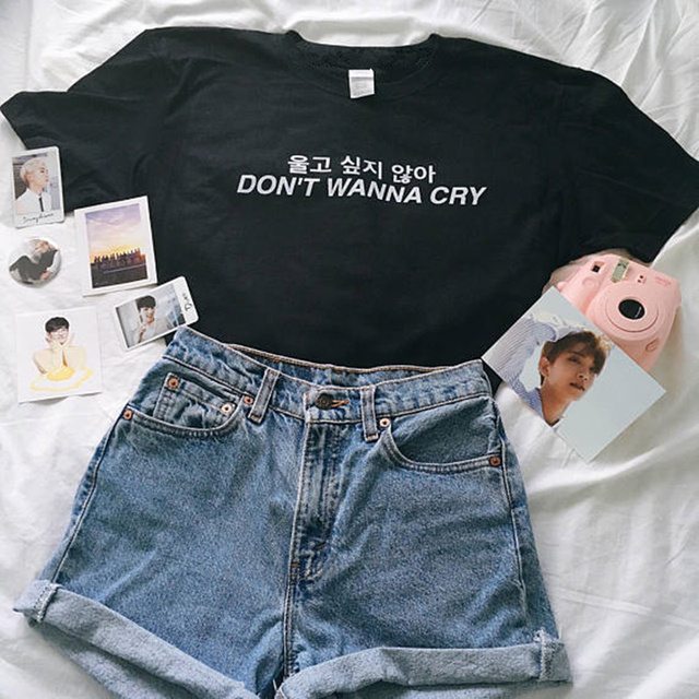 6ef674c2a0e2 DON'T WANNA CRY Tumblr Funny Letter T-Shirt Korean Kawaii Hipster Aesthetic  Tee Summer Trendy Slogan Graphic Outfits Streewear