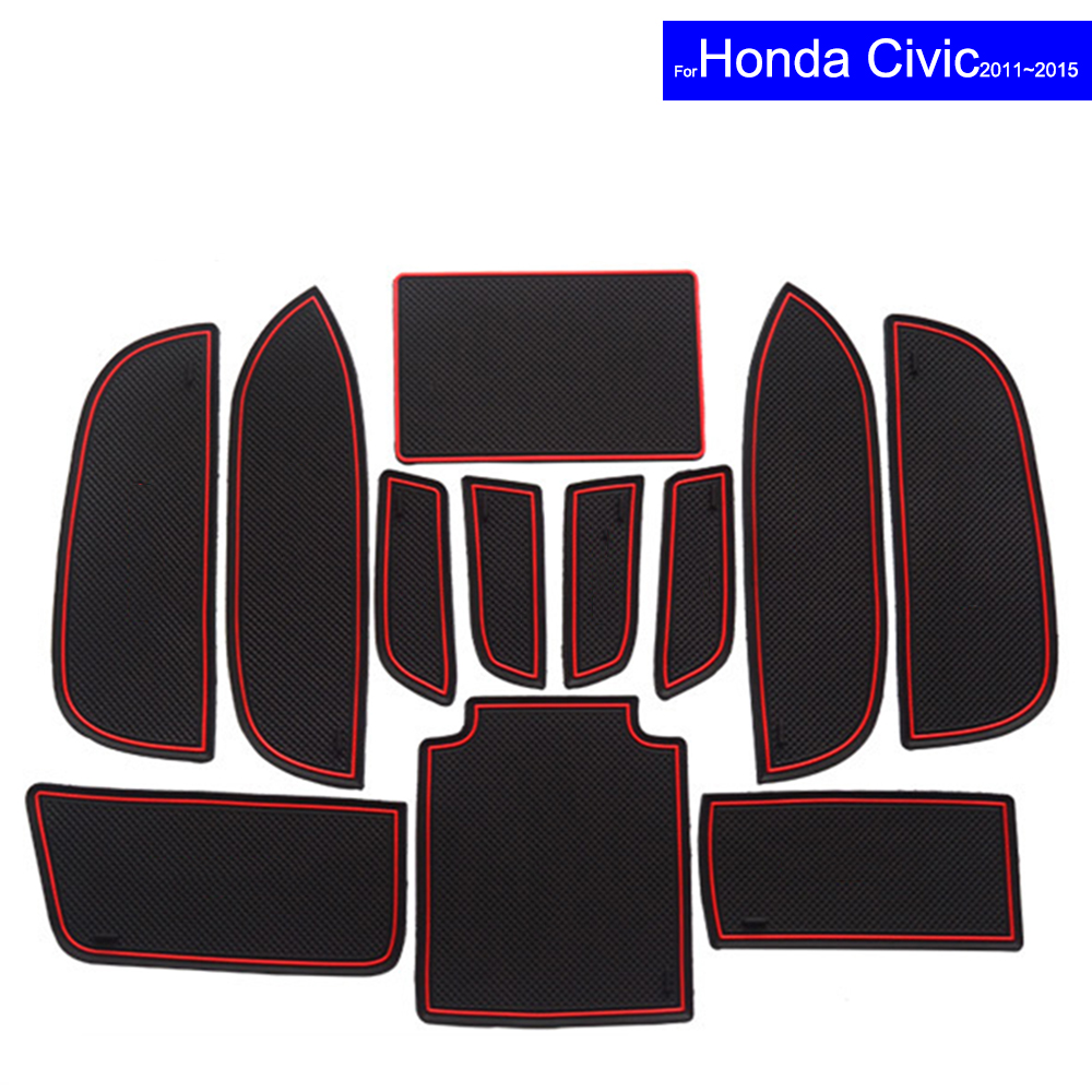 Car Door Gate Slot Mats Carpets Position Cup Holder Pads For Honda Civic 2006~2011 2012 2013 2014 2015 2016 2017 Door Groove Mat 2pcs car red black white rearview mirrors for honda civic 2012 2013 2014 accessories