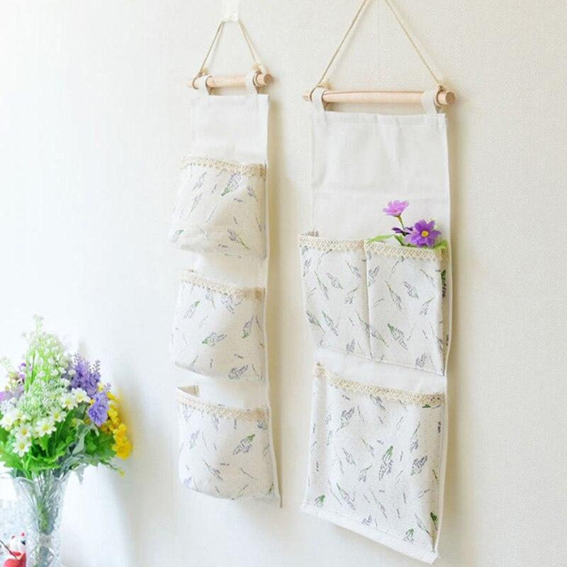 Lavender Pattern Cotton Linen Hanging Storage Bag 3 Pockets Wall Mounted Wardrobe Handbag Wall Pouch Cosmetic Toys Organizer