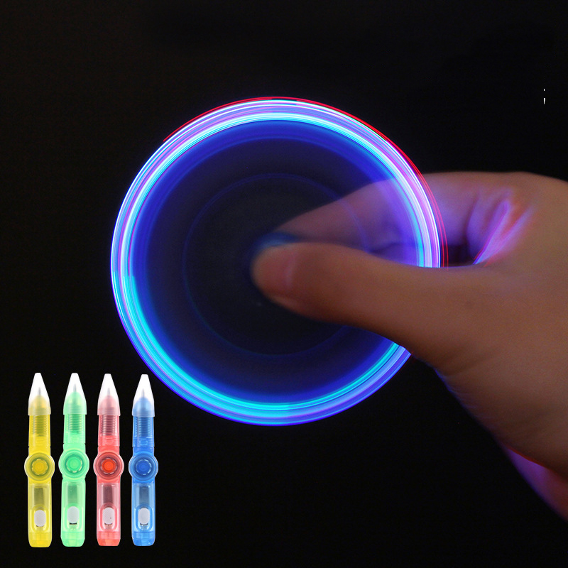2 In 1 Glowing Rotation Toys For Children Magic Ballpoint Pen Led Lights Luminous Hand Spinner Drawing Pen Kids Toy Easter Gift