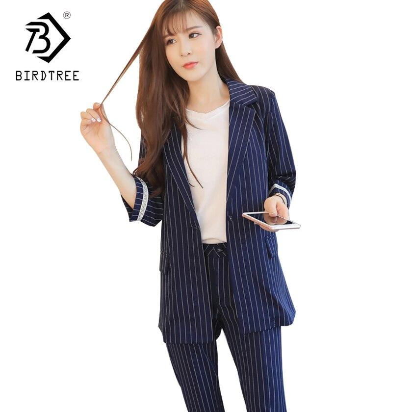 New Arrival 2018 OL Style Fashion Pants Suits Women Single Button Blazer 2 Two Piece Set Striped Jackets & Pants Blazers S7D328L