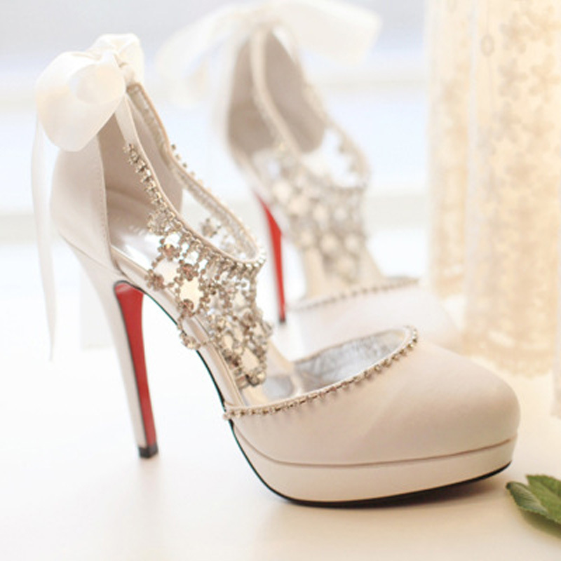 Fashion Sweet Diamond White Bridal Shoes Satin Dress Shoes