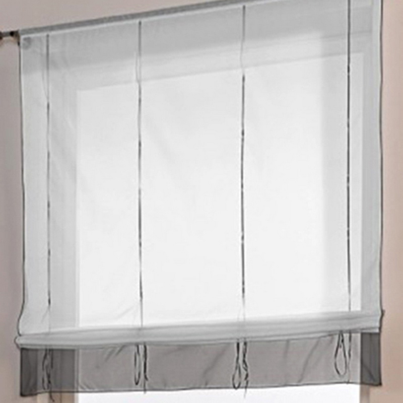 FUNIQUE Gray Transparent Plastic Curtain Rod Height Adjustable Through Rod  Type Roman Curtain For Kitchen Bedroom