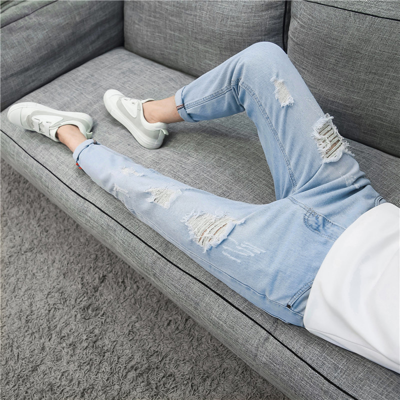 Men's Korean Version Of 9.9-point Hollow Jeans In Spring Men Jeans