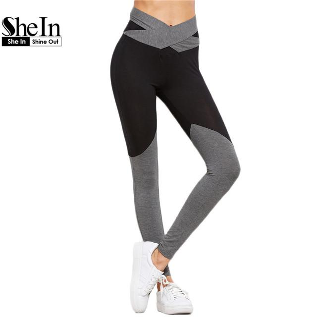 SheIn Casual Leggings Mulheres Leggings de Fitness Inverno Quente Roupas de Ginástica para Mulheres Contraste Crossover Cinto Leggings