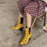 2019 Популярные Брендовые женские ботинки в клеточку, женская обувь на необычном каблуке, короткие ботинки без шнуровки в стиле пэчворк,