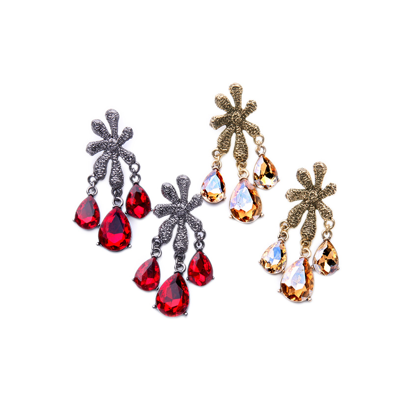 Red Chandelier India: Luxury Red Champagne Crystal Chandelier Earrings 2016 New