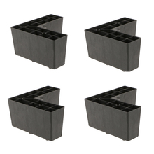 4 Pack Universal Plastic Triangle Furniture Legs Sofa Leg Feet Holder for Setttee Couch Bed Black