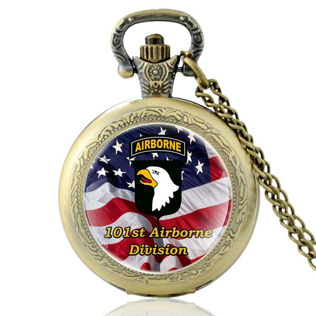 Vintage Bronze United States 101st Airborne Division Quartz Pocket Watch Classic